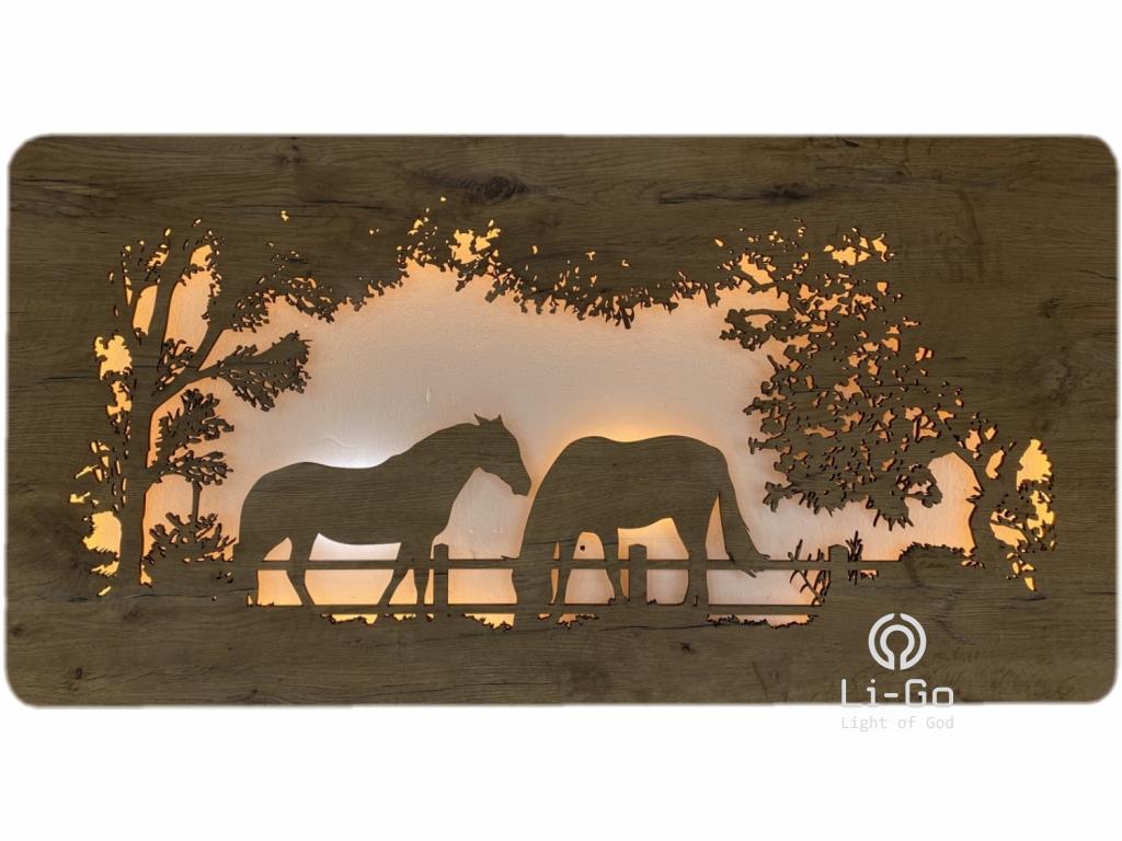 """""""Koně"""" obrazové svítidlo 120x50cm"""