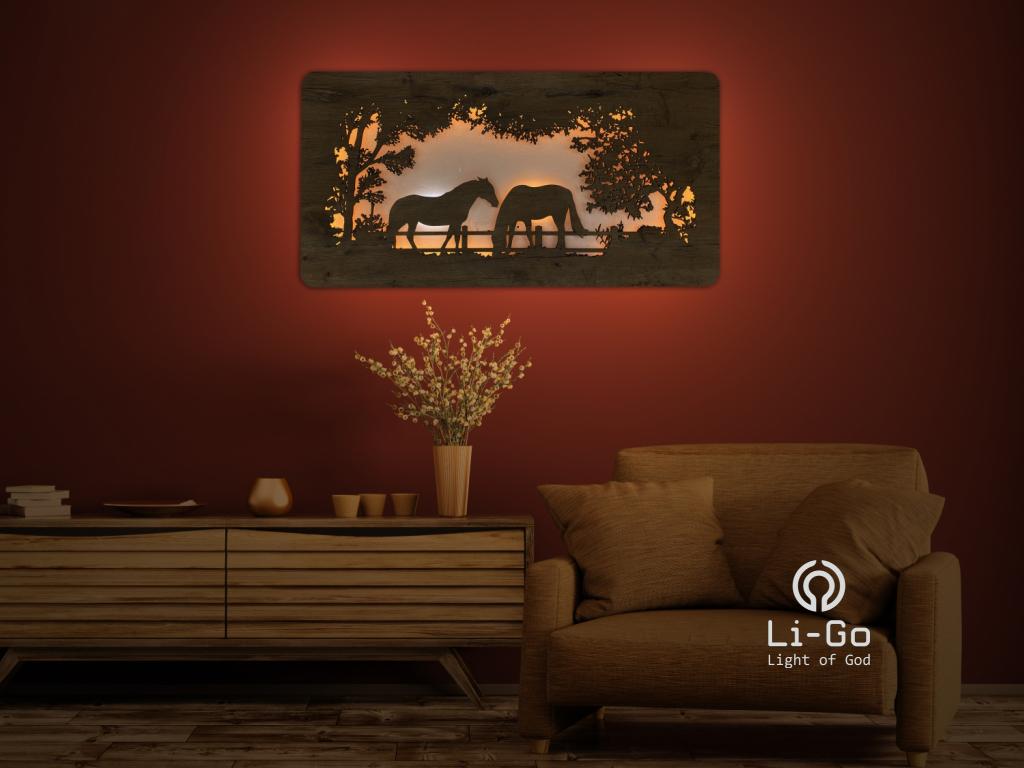 """""""Koně"""" světelný obraz 120x60cm"""