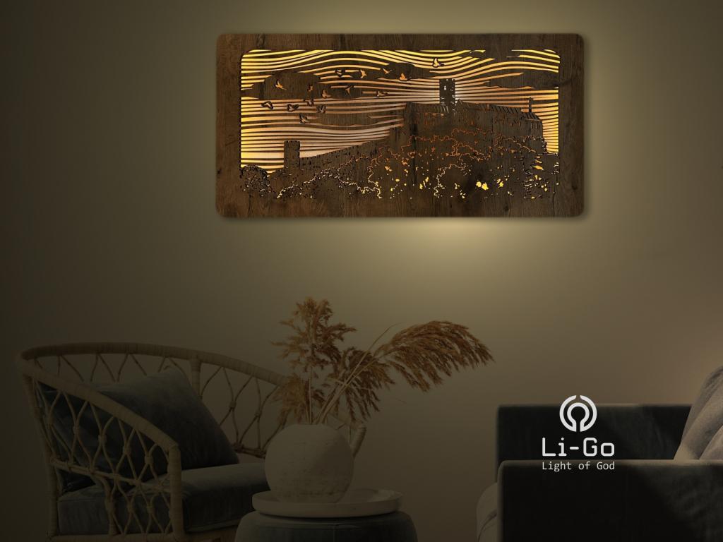 """""""Bezděz"""" světelný obraz s baterií 100x50cm"""