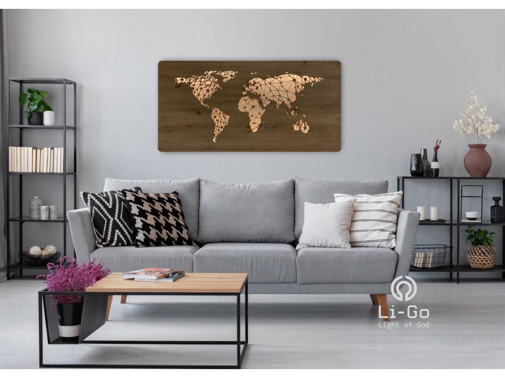 """""""Mapa světa"""" obrazové svítidlo s power bankou 120x60cm"""
