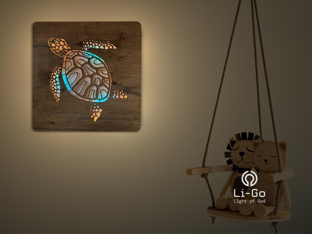 """""""Želva"""" světelný obraz s baterií RGBW 62x62cm"""