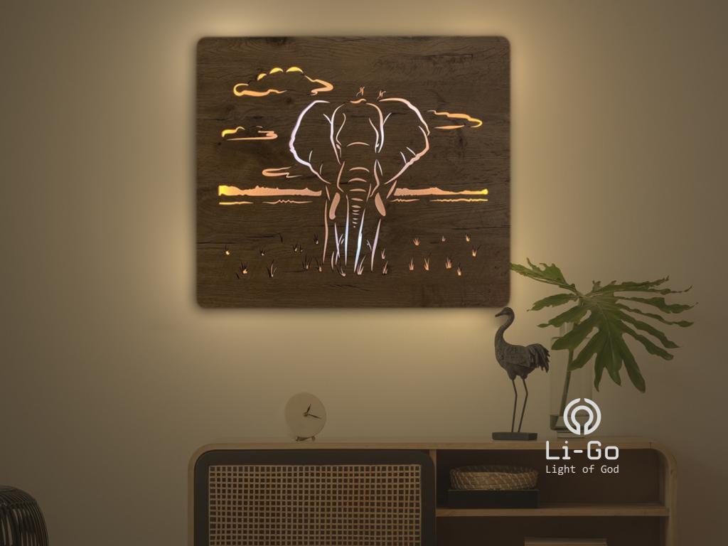 """""""Slon"""" světelný obraz s baterií 65x55cm"""