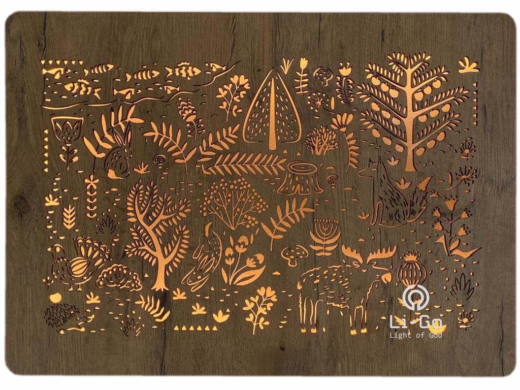 """""""V lese"""" světelný obraz 70x50cm"""