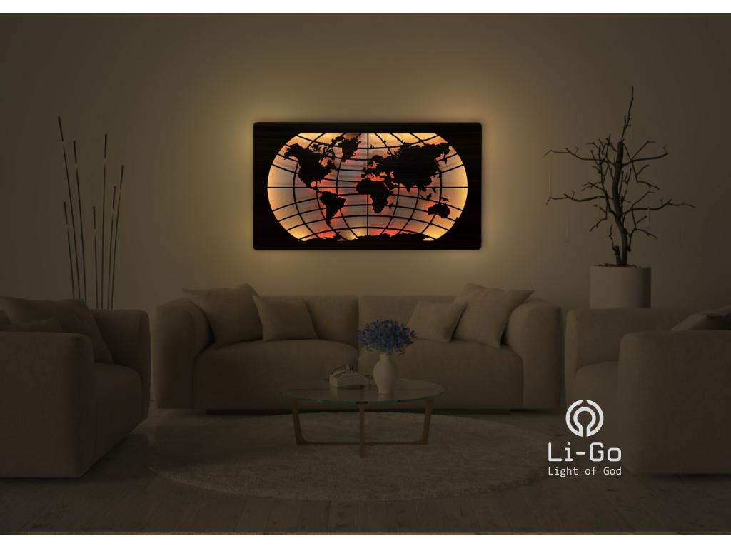 """""""Mapa světa rovnoběžky"""" světelný RGB obraz 150x85cm"""
