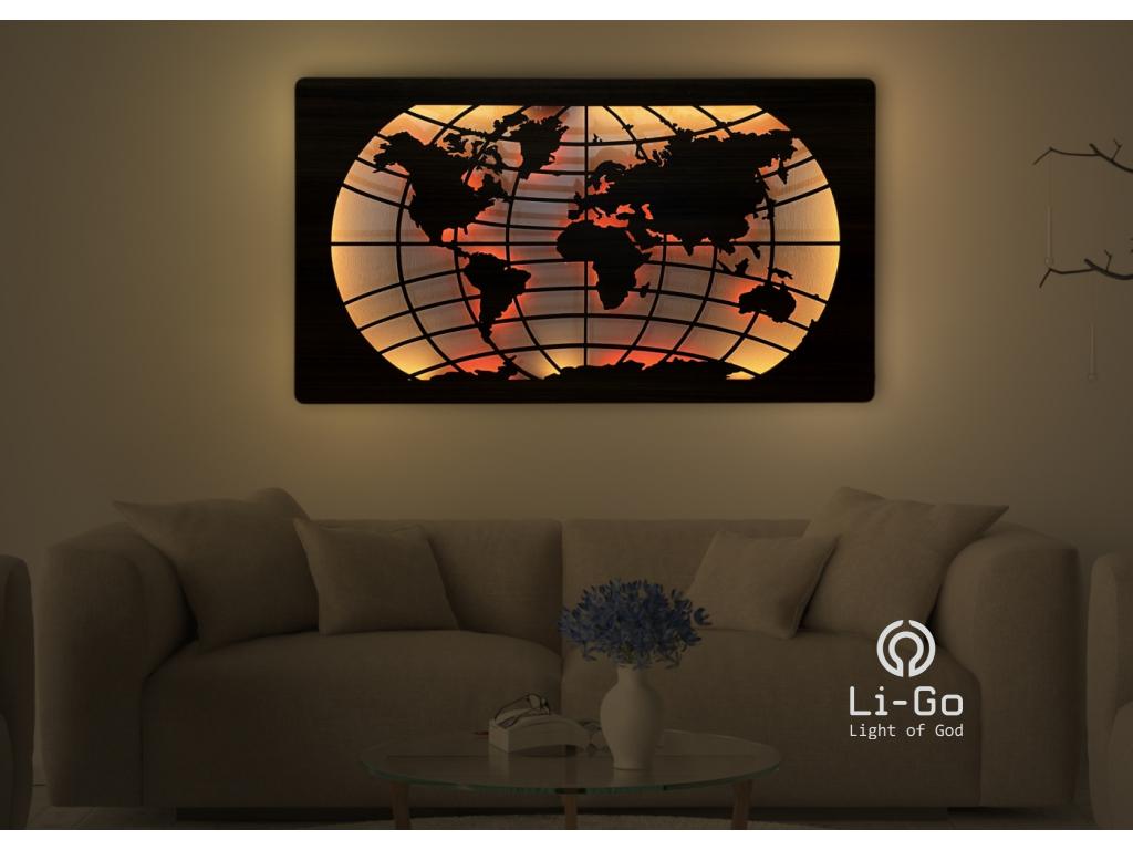 """""""Mapa světa rovnoběžky"""" světelný RGBW obraz 125x73cm"""
