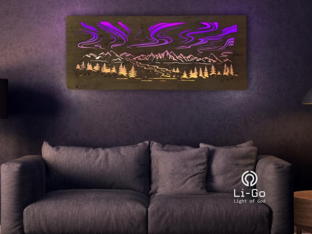 """""""Polární záře"""" světelný RGBW obraz 120x50cm"""