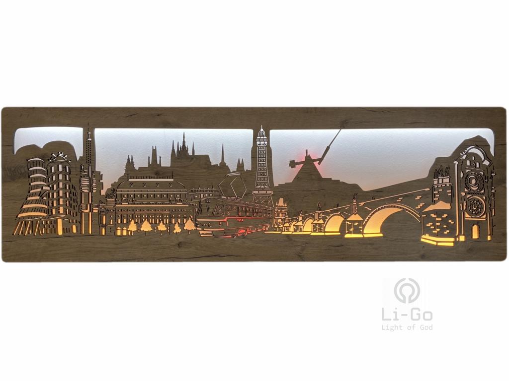 """Praha """"Tramvaj"""" obrazové svítidlo 130x40cm"""