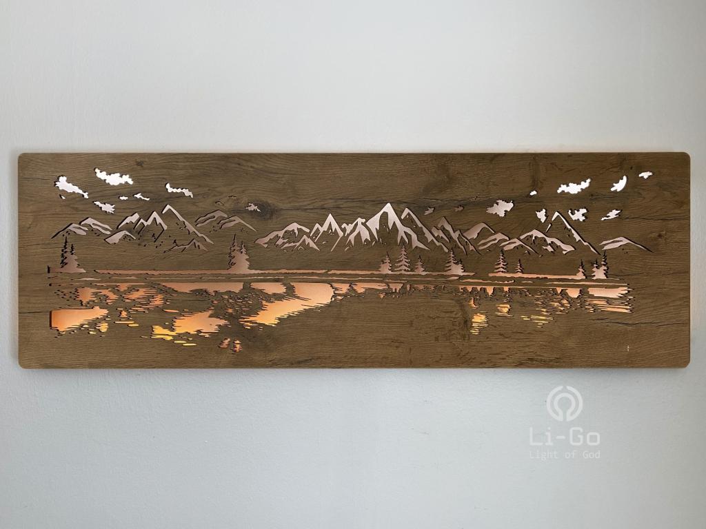 """""""Jezero"""" obrazové svítidlo s power bankou 125x40cm"""