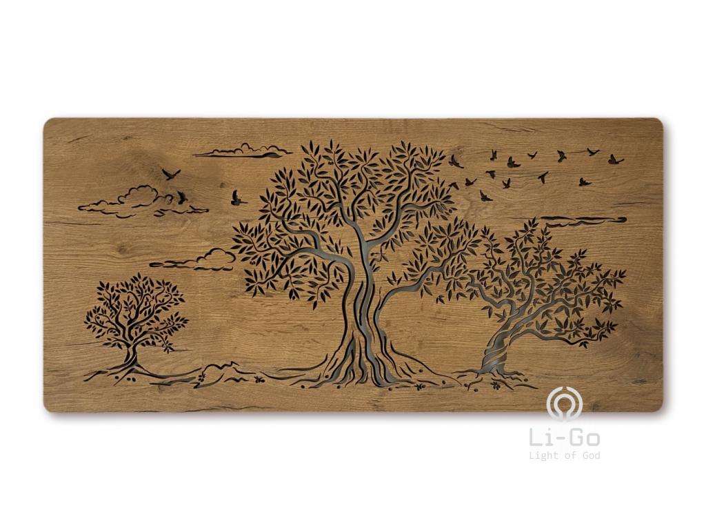 """""""Tři olivy"""" světelný obraz 110x50cm"""