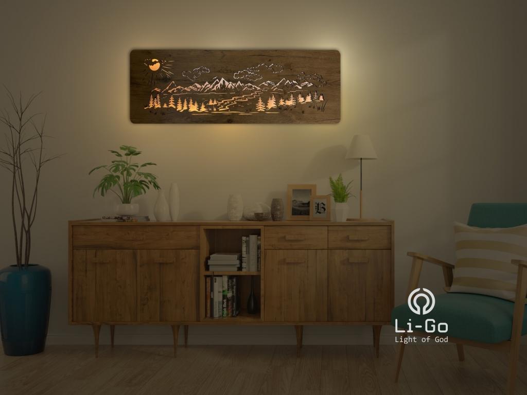 """""""Hory, les"""" světelný obraz s baterií 120x40cm"""