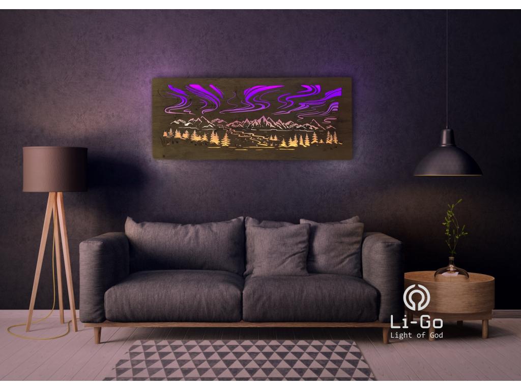 """""""Polární záře"""" světelný obraz s baterií RGBW 120x50cm"""