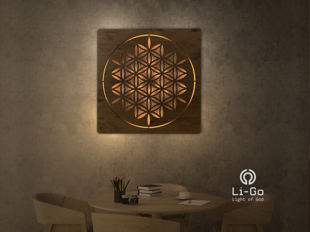 """""""Květ života"""" světelný obraz s baterií 70x70cm"""