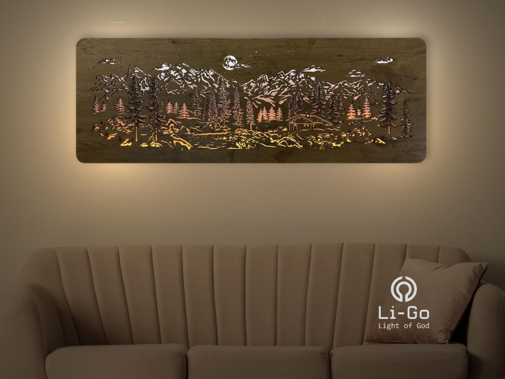 """""""Chata v horách"""" světelný obraz 120x40cm"""