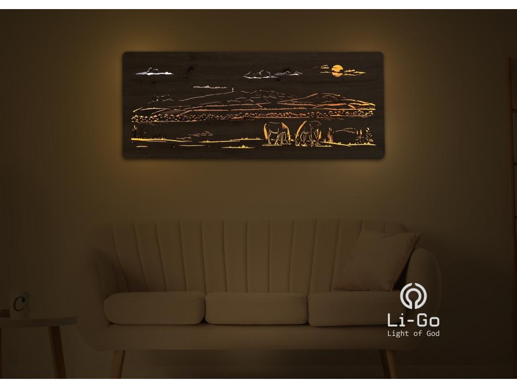 """""""Chata v horách"""" světelný obraz s baterií 120x43cm"""