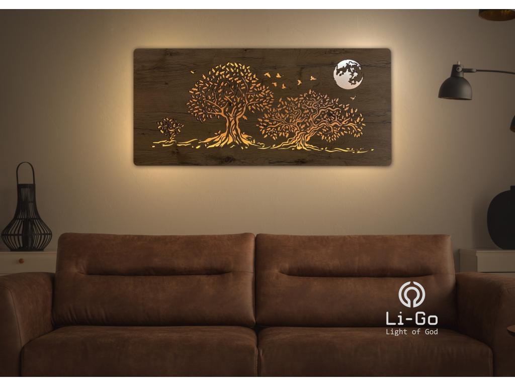 """""""Tři duby a měsíc"""" světelný obraz 110x50cm"""