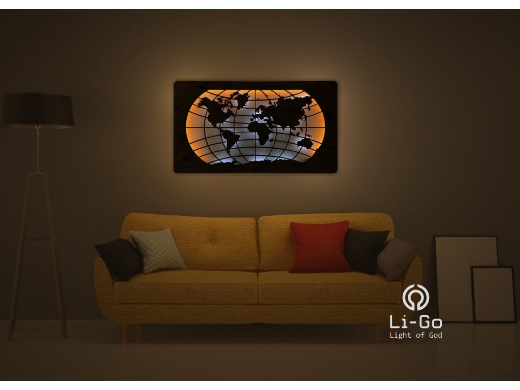"""""""Mapa světa rovnoběžky"""" světelný obraz s baterií 110x60cm"""