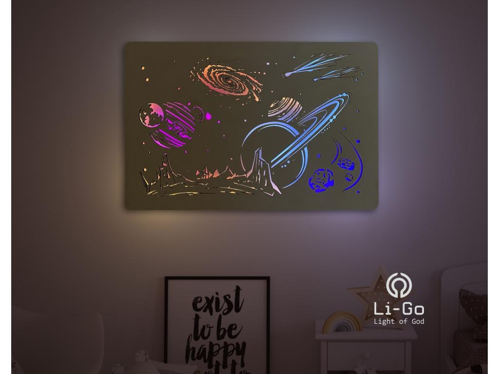 """""""Vesmír"""" světelný obraz RGB s baterií 90x60cm"""