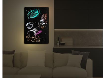 """""""Vesmír"""" světelný obraz RGB s baterií 60x90cm"""