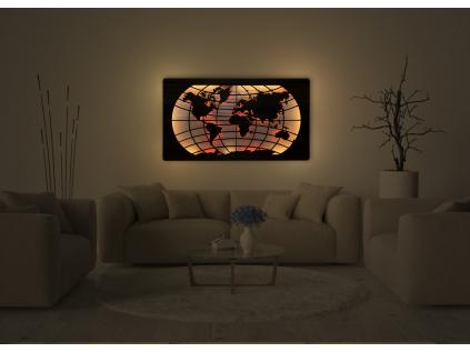 """""""Mapa světa rovnoběžky"""" světelný RGB LED obraz 150x85cm"""