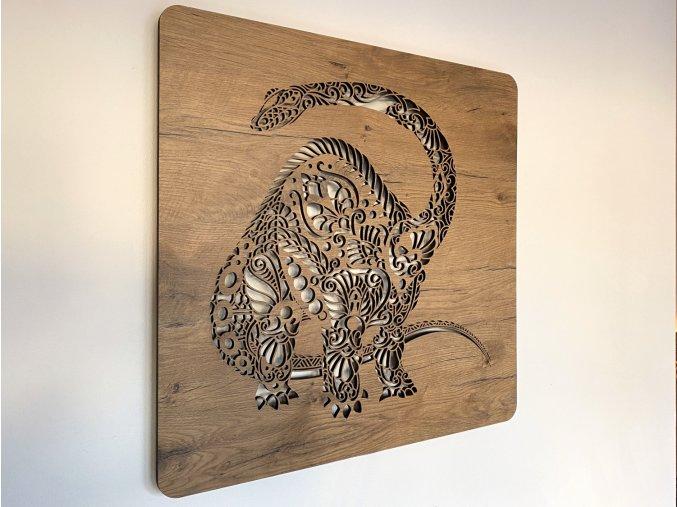 """Obrazové LED svítidlo 60x60cm """"Brontosaurus"""" odstín lípa"""