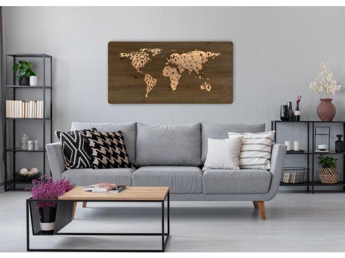 """""""Mapa světa"""" obrazové LED svítidlo 120x60cm"""