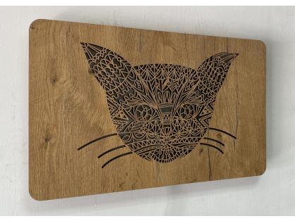 """Obrazové LED svítidlo 50x31cm """"Hlava kočky"""" dřevo tmavá"""