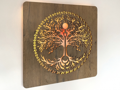 """Strom života"" obrazové svítidlo 62x62cm"