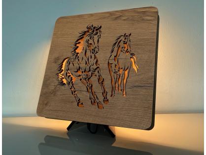 """Koně""  lampa 31x31"