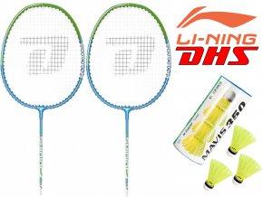 LI-NING DHS S37 (Badmintonový set pro dva s míči MAVIS 350 3ks)