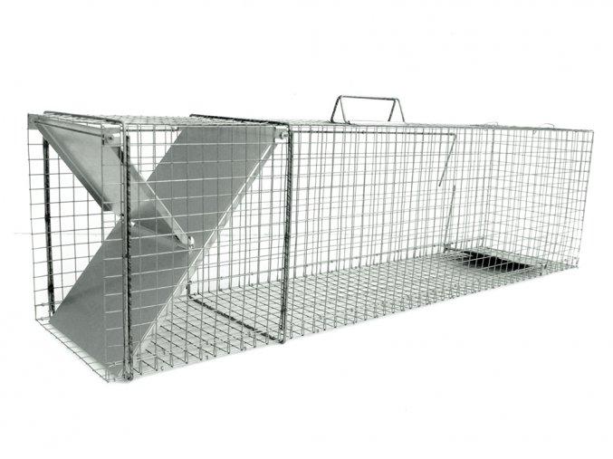 Pasca pre kuny, norky, tchora, mačky a líšky ZL112x31x36 osvedčený robustný sklopec s jedným vchodom a záklopkou so zámkom