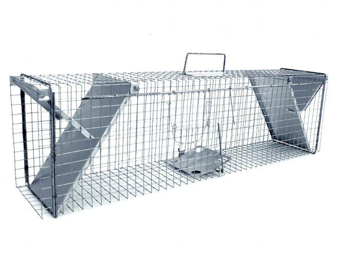 Pasca sklopec na kuny, norky, tchora, mačky a malé líšky ZL112x21x31 nerezová dvojstranná klietka k odchytu zveri sa záklopkou