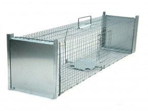 Sklopec pasca na kuny, norky, tchora a mačky ZL100x26x26 odchytová klietka priechodná s dvomi vstupmi a nášľapnú padacie bránou