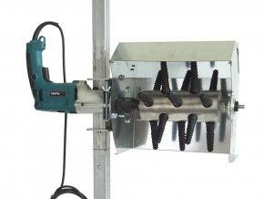 Šklbačka hydiny na vŕtačku s ochranným krytom a stojanom SPIUMATRICE DIT SP RU08 1