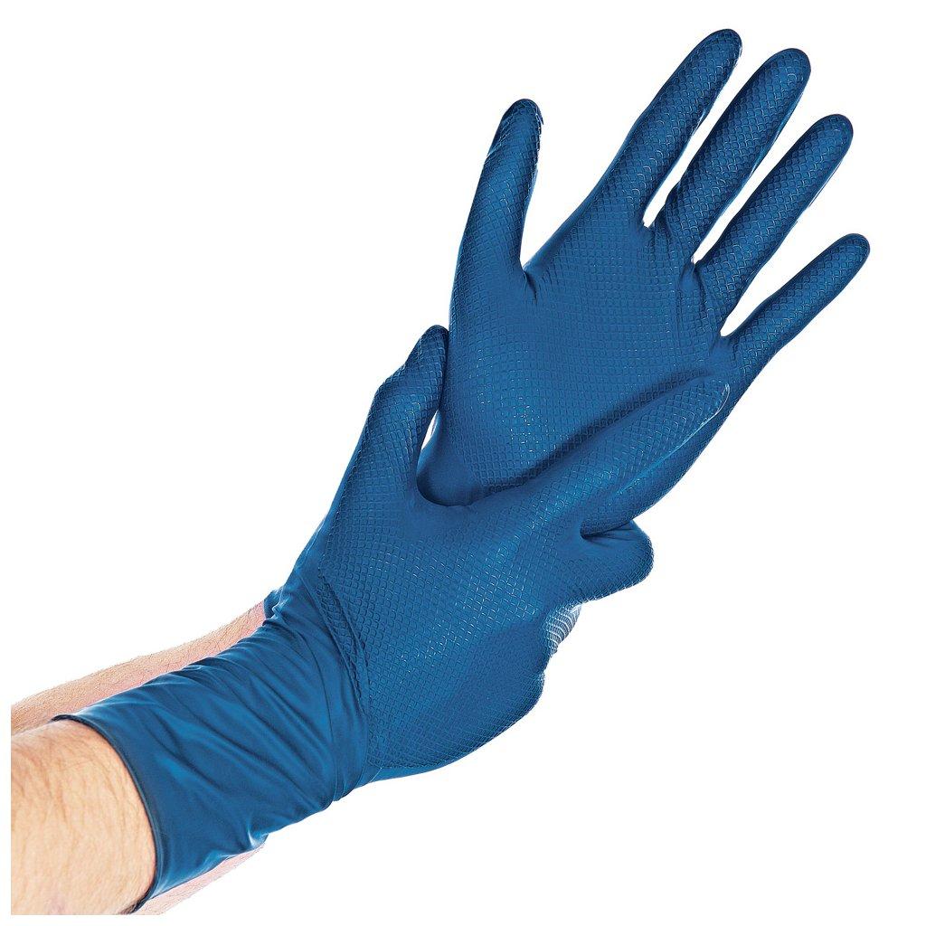 modré extra silné nitrilové rukavice