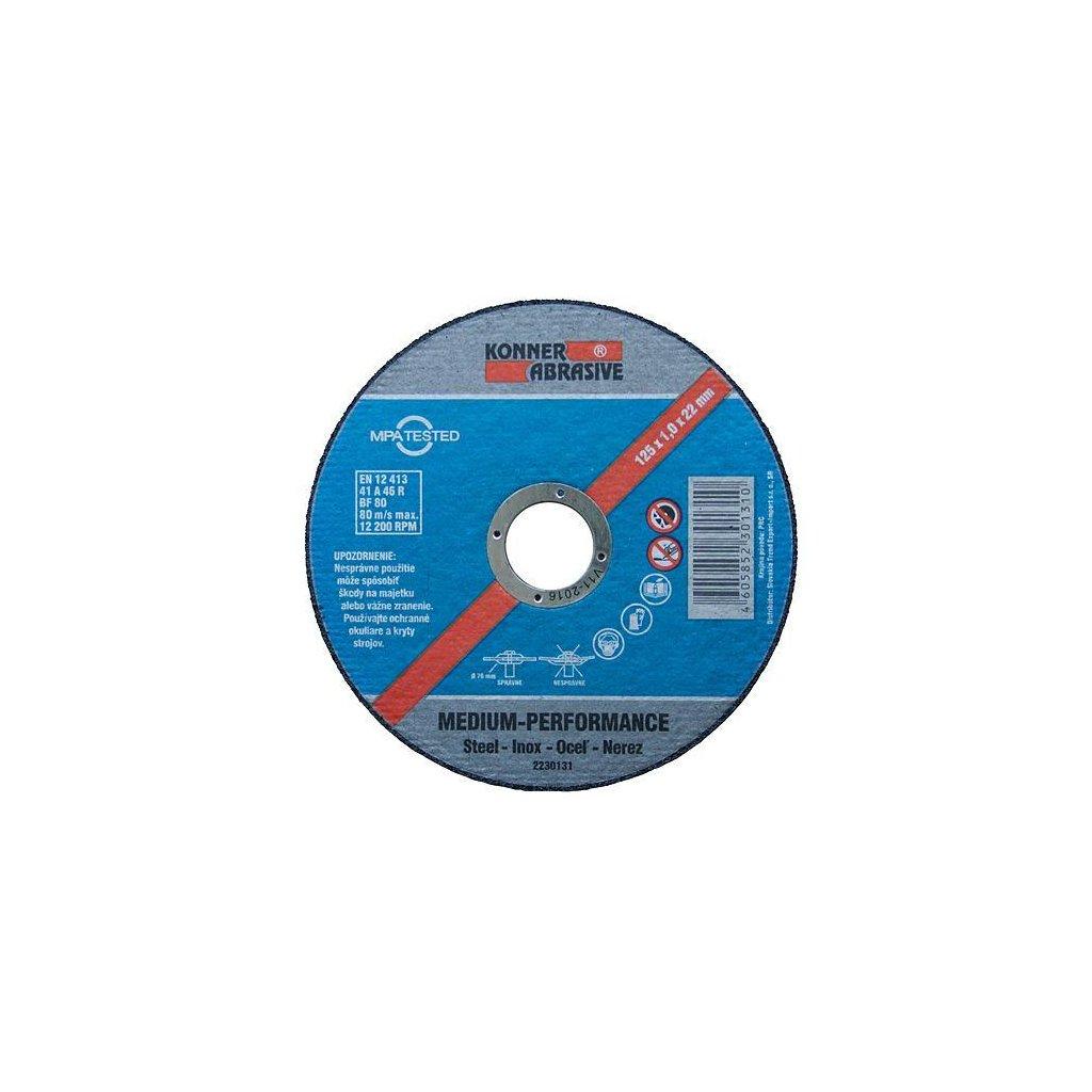 Kotúč KONNER D603 125x1,0x22 mm, rezný na kov