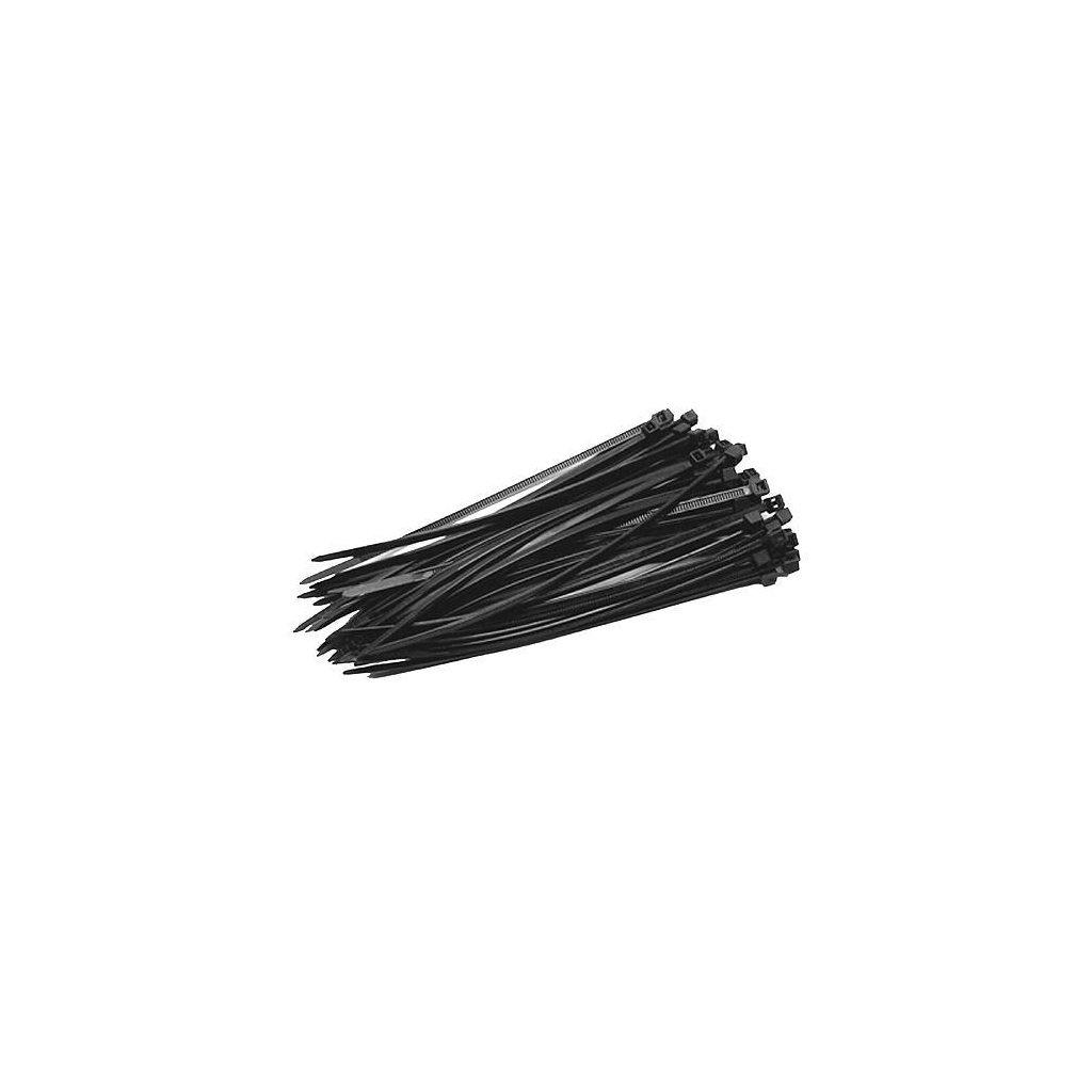 Páska sťahovacia Strend Pro CT66BL, 400x4,8 mm, 50 ks, čierna, nylon, viazacia
