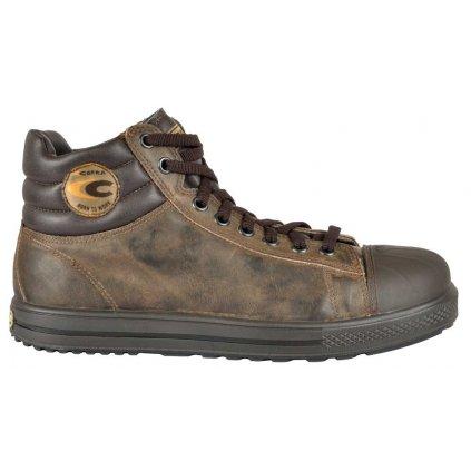 Moderná členková bezpečnostná obuv z nepremokavej kože a z odľahčenou kompozitnou špičkou a planžetou proti prierazu COFRA STOPPATA S3 SRC : TALIANSKÁ VÝROBA (Veľkosť 47, Farba hnedá)