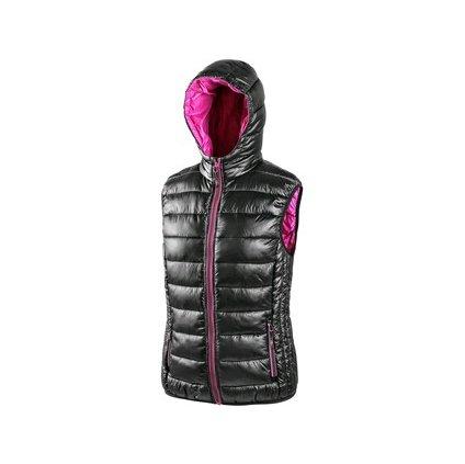 Dámska zimná vesta OMAK, čierno-ružová, vel. XXXL
