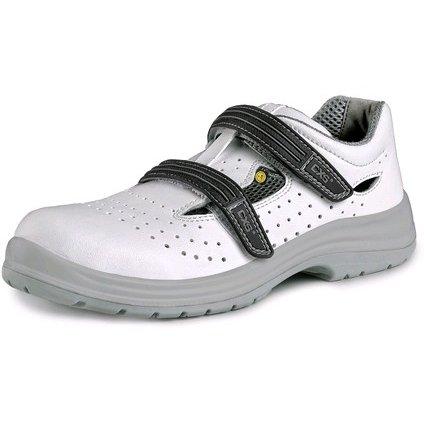Obuv sandál CXS PINE S1 ESD, s oceľovou špicou, perforovaný, biela, veľ. 48