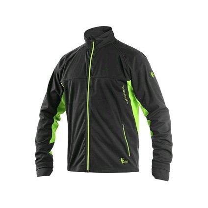 Ľahká pánska softshelová bunda čierno-zelená