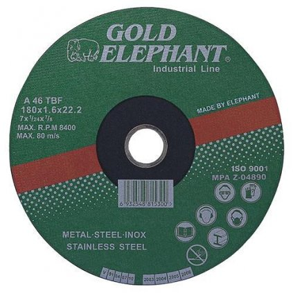 Kotúč Gold Elephant 41AA 150x1,6x22,2 mm, rezný na kov a nerez A46TBF