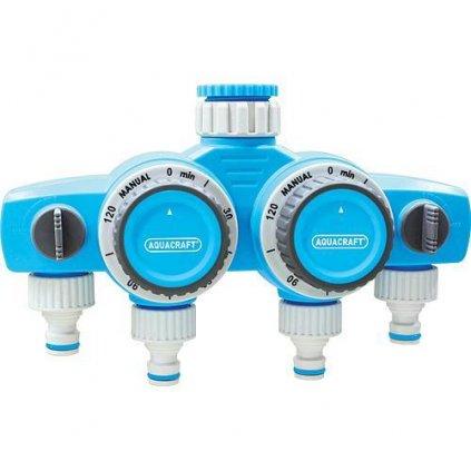 Časovač AQUACRAFT® 290040, mechanický, 4-rozbočovač, Double, max. 120 min