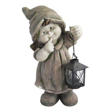 Dekoracia Gecco 8002, Dievča s lampášom, magnesia, 39 cm