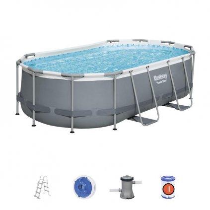 Bazén Bestway® Power Steel™, 56620, filter, pumpa, rebrík, dávkovač, 4,27x2,50x1,00 m