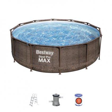 Bazén Bestway® Power Steel™ Deluxe Series™, 56709, vzor ratan, filter, pumpa, rebrík, 3,66x1,00 m