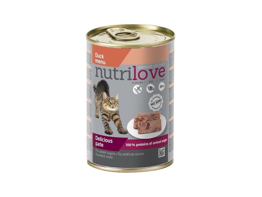 Nutrilove kočka paté kachní 400g