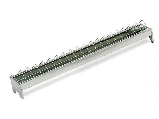 Žlabové krmítko pro slepice - drůbež 13x50cm, široké otvory, pozinkované
