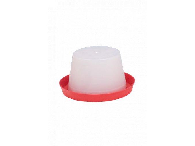 Klobouková napaječka pro kuřata - drůbež, 3l, ploché víko, plastová