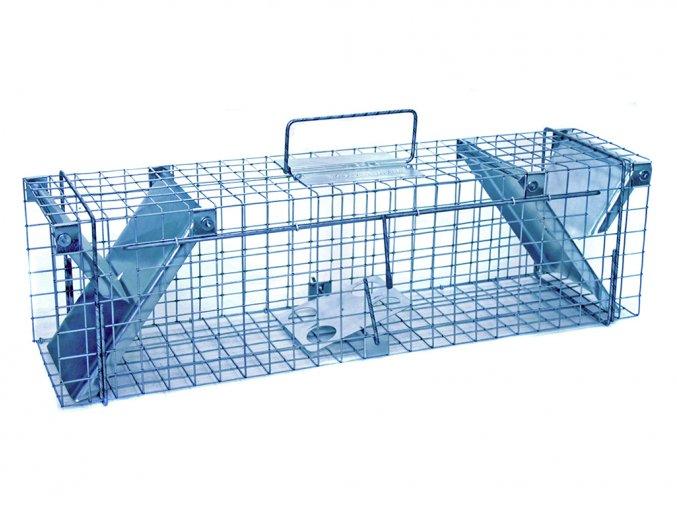 Sklopce na škodnou zvěř, kuny, potkany a krysy, lasičky, norky a kočky ZL82x17x20 - pozinkovaná past se dvěma vstupy a záklopkou