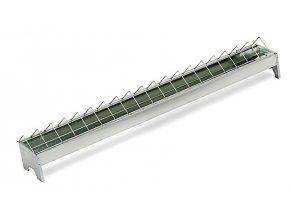 Žlabové krmítko pro slepice - drůbež 13x75cm, široké otvory, pozinkované